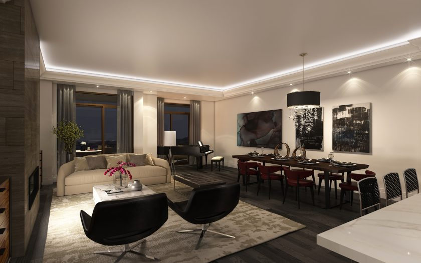 Suite LK can host a dinner for eight and grand piano