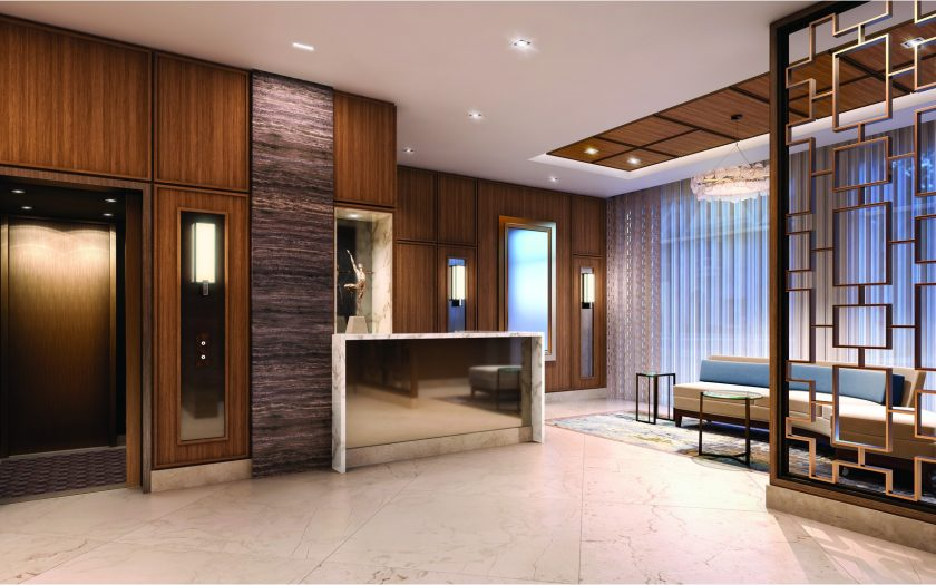 Beautifully appointed walnut paneled lobby
