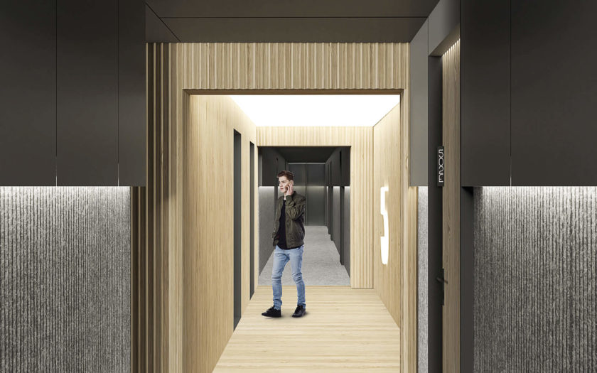 View down the residential corridors looking towards the elevator