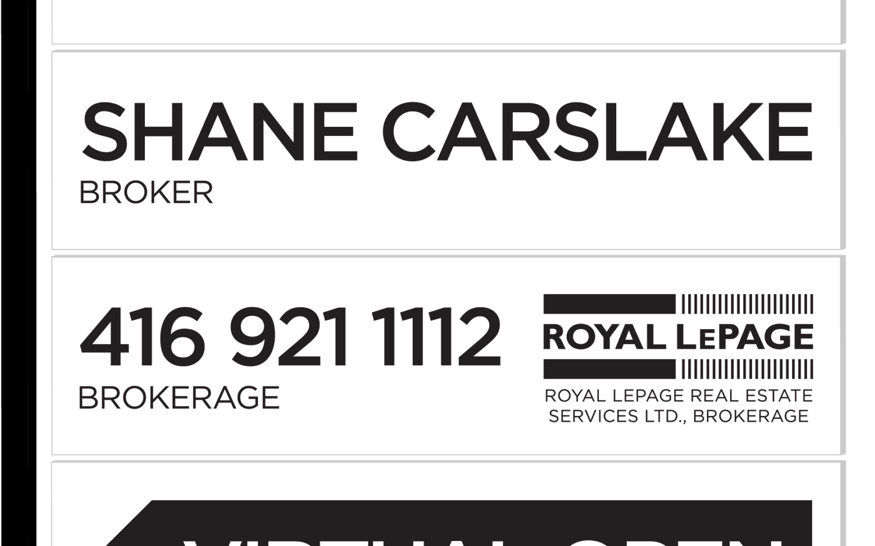 SHANE Sign For Sale Virtual Open